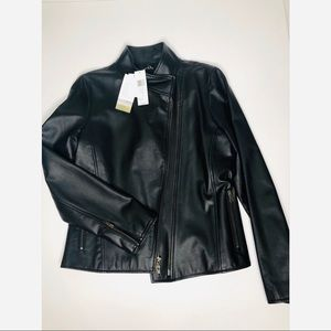 NWT Eileen Fisher Black Leather Moto Jacket med